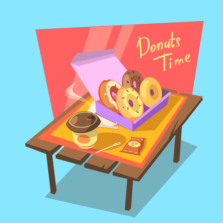 old desk: Donuts time concept with fresh bakery in paper box and drink cup retro cartoon vector illustration