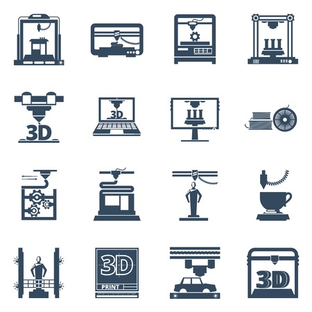 object printing: 3D Printing technology black icons set with software for creating objects from digital files abstract isolated vector illustration