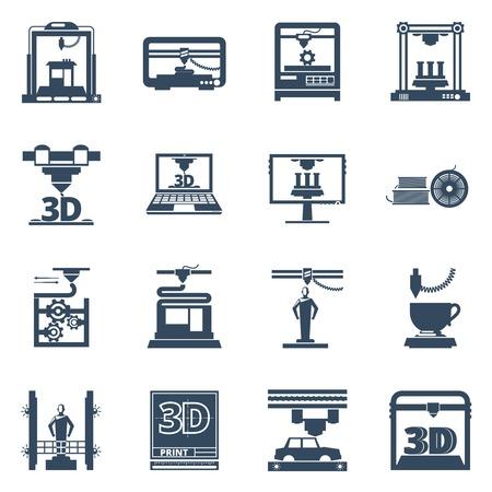 imprenta: La tecnología de impresión 3D iconos negros fijaron con software para la creación de objetos a partir de archivos digitales resumen ilustración vectorial aislado