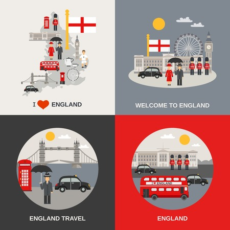 England for tourists 4 flat icons square composition with kingsbridge and big ben abstract isolated vector illustration