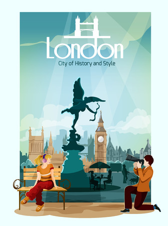 famous people: London poster with people and famous touristic landmarks on background vector illustration Illustration