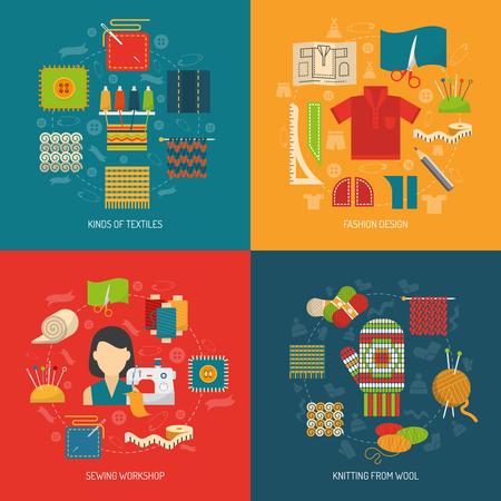 textil: concepto de diseño textil ajustado con tejido de punto de costura y confección iconos planos aislados ilustración vectorial Vectores