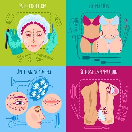 Plastische chirurgie ontwerpconcept set met geïsoleerde gezicht en lichaam correctie iconen vector illustratie