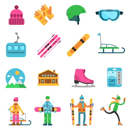 mountain pass: Winter sport flat icons set with ski skate and snowboard equipment isolated vector illustration