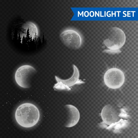 dark cloud: Moonlight set with moon phases with clouds on transparent background vector illustration