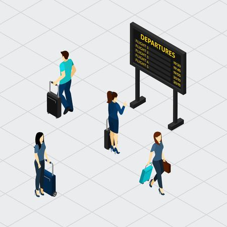 departure: Airport departure board in passengers waiting room with overview of flight numbers and time isometric banner vector illustration