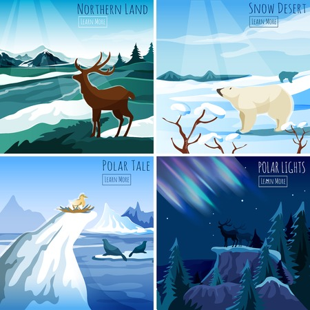 winter range: Northern landscape 4 flat icons square composition for interactive  webpage with polar lights abstract isolated vector illustration Illustration