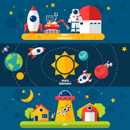 moon rover: Space exploration 3 flat horizontal banners set with cosmonaut spacecraft and solar system abstract isolated vector illustration