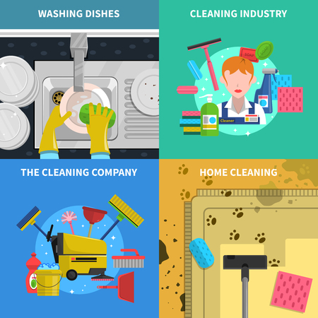 order: Cleaning concept icons set with home cleaning and cleaning industry symbols flat isolated vector illustration