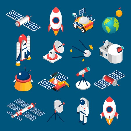 satellite: Isolated isometric icons with dark background  about space equipment vector illustration