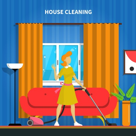 sofa: House cleaning background with a vacuum cleaner and a room flat vector illustration