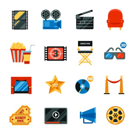film shooting: Decorative flat cinema  icons set with film festival symbols and collection of director chair 3d glasses popkorn cd disk free tickets isolated vector illustration