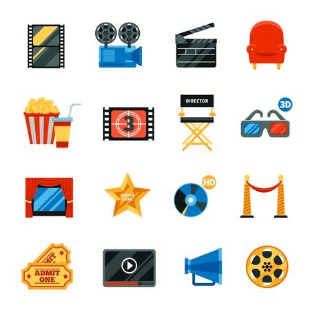 shooting: iconos del cine planos decorativos fijados con s�mbolos de festivales de cine y colecci�n de gafas 3d silla del director popkorn entradas gratis cd disco aislado ilustraci�n vectorial