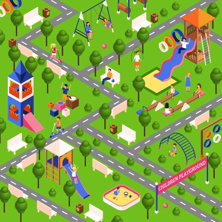 kids playground: Children playground illustration with isometric park equipment vector illustration