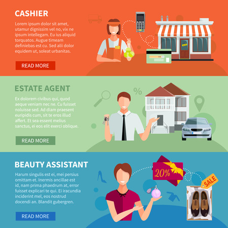 Salesman horizontal banners set of cashier with cash register estate agent with car and assistant  with shoes discount vector illustration Ilustracja
