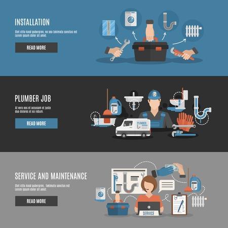 Interactive Homepage-Design für Klempner Installation Reparatur und Wartungsservice flache horizontale Banner Set abstrakte Vektor-Illustration