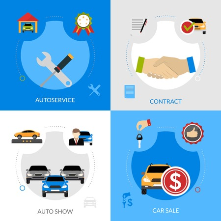 sale icons: Car dealership flat icons composition of automobile sale autoservice buying contract and auto show square concept vector illustration Illustration