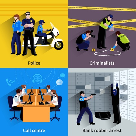enforcement: Police square concept set of policeman people bank robber arrest working criminalists and call center flat shadow vector illustration
