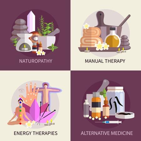medicamento: alternativa concepto de diseño de medicina conjunto con elementos del manual de naturopatía y terapias de energía ilustración vectorial