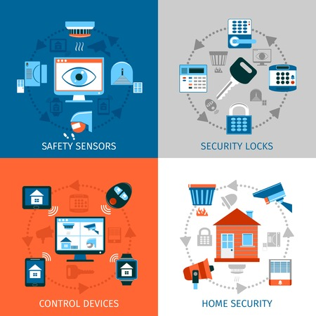 guard house: Home safety concept icons set with security locks and control devices symbols flat isolated vector illustration