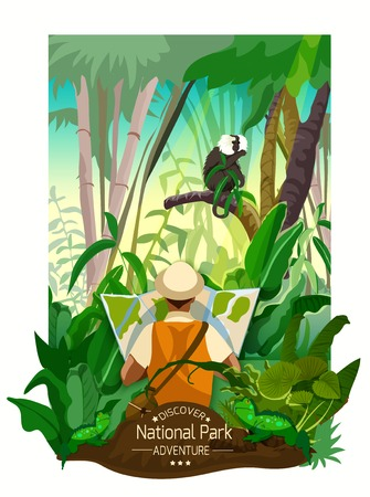 forest cartoon: Colorful tropical forest landscape poster with thickets monkey on branch and traveler with map in cartoon style vector illustration Illustration