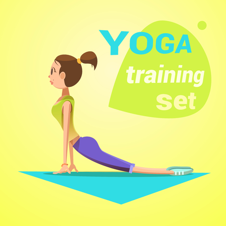 girl pose: Yoga retro cartoon with young girl in snake pose vector illustration