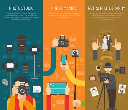 Photographie ensemble de la bannière verticale avec des éléments rétro photo studio isolé illustration vectorielle