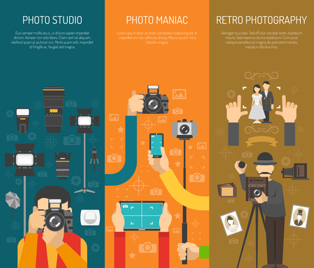 Photography vertical banner set with retro photo studio elements isolated vector illustration Ilustração