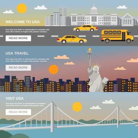 webpage: Night cityscape bridge and liberty statue 3 flat banners for USA  travelers information webpage design abstract vector illustration
