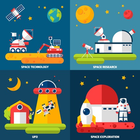 space station: Space exploration 4 flat icons composition with observatory telescope and rover research technology abstract isolated vector illustration