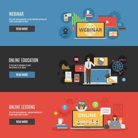 Banderas horizontales de educación en línea plana con lecciones en línea y la ilustración vectorial iconos decorativos seminario