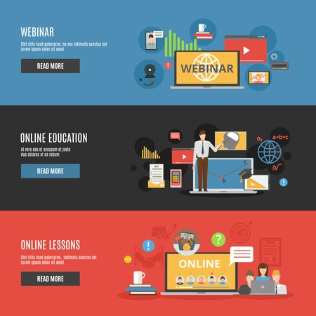 Online education flat horizontal banners with online lessons and  webinar decorative icons vector illustration Vectores