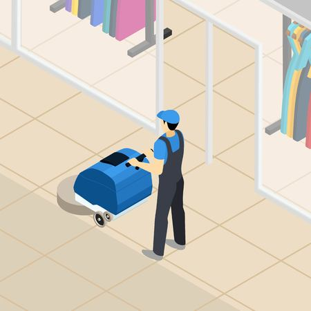 shopping center interior: Professional cleaner at work at clothing department store in shopping mall center abstract isometric banner vector illustration