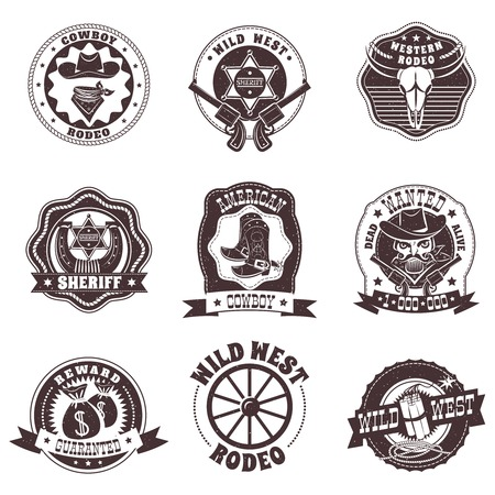 Wild West black white labels set met rodeo en sheriff symbolen vlakke geïsoleerde vector illustratie