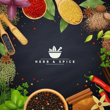 epices: Beau cadre avec des bords d'herbes de cuisine et des placers épices dans les plats en bois et sans réaliste illustration vectorielle Illustration