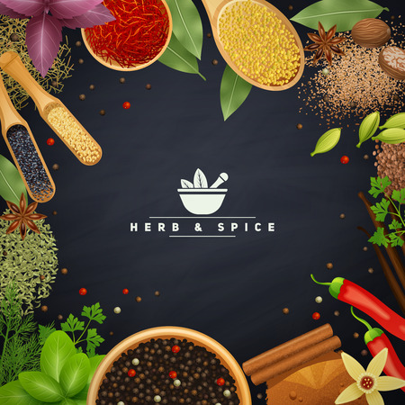 Beautiful frame with edges of cooking herbs and placers spices in wooden dishes and without realistic vector illustration
