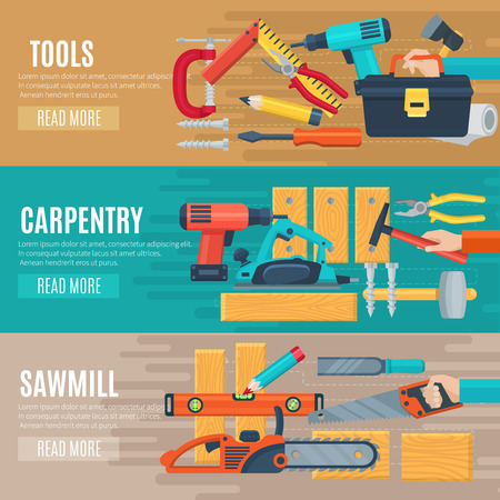 toolbox: Horizontal carpentry flat banners set of woodworker tools kit and sawmill equipment vector illustration Illustration