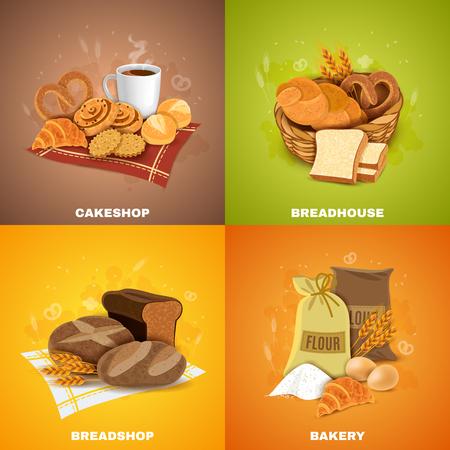 ilustracion: panadería a la mejor calidad pan y pastelería 4 iconos planos cuadrados de composición bandera ilustración abstracta del vector