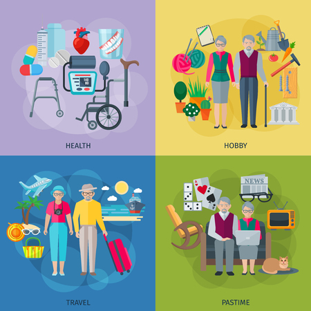 pastime: Pensioners life concept icons set with health hobby travel and pastime symbols flat isolated vector illustration Illustration