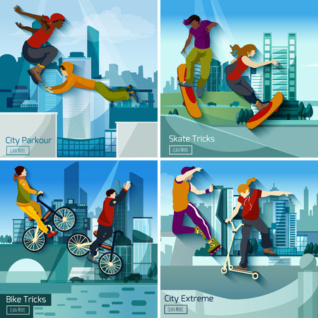 extreme sports: Extreme city sports 2x2 design concept set of parkour skate and bike tricks compositions flat vector illustration Illustration