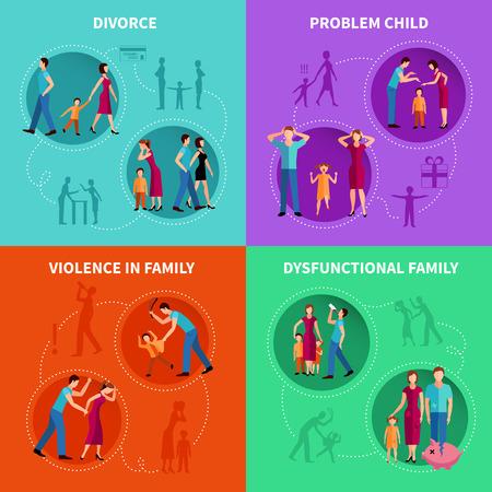 Factores psicológicos de problemas familiares iconos decorativos planos conjunto ilustración vectorial
