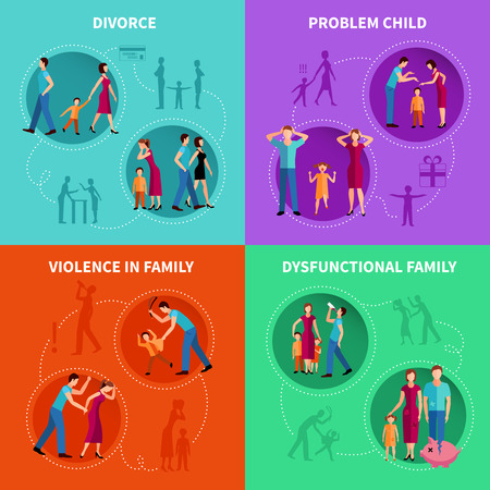 hurting: Psychological factors of family problems flat decorative icons set  vector illustration