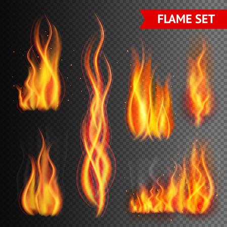 flames: El fuego de llama trazos realistas aislados en fondo transparente ilustración vectorial
