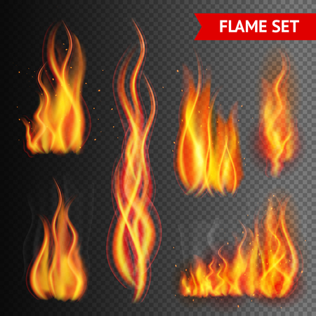Fire flame strokes realistic isolated on transparent background vector illustration Stock Illustratie