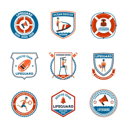 patrol: Beach lifeguard patrol emblems set with ocean rescue symbols flat isolated vector illustration Illustration