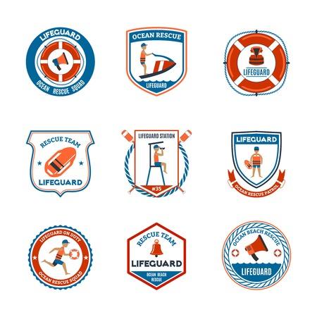 Beach Rettungsschwimmer Patrouille Embleme mit Ozeanrettungs Symbole flach isoliert Vektor-Illustration gesetzt Vektorgrafik