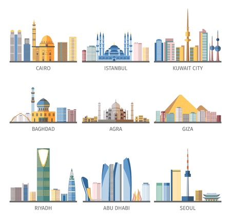 Eastern capitals cityscapes unique architecture with modern and historical landmarks flat icons collection abstract isolated vector illustration