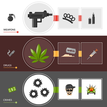 gangsta: Horizontal gangster lifestyle banners  with weapons drugs  and crimes elements set vector illustration