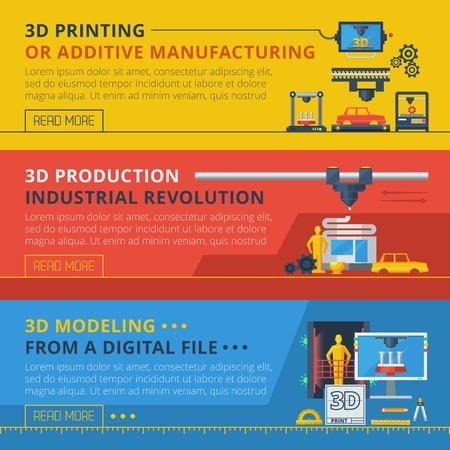 imprenta: modelado 3D de la impresión digital y archivos de información en línea de producción 3 banners horizontales planas establece ilustración vectorial abstracto Vectores