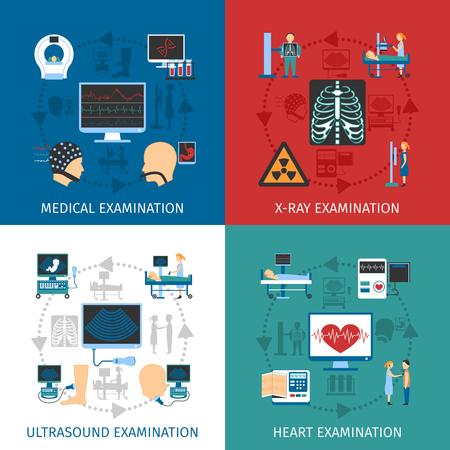 Medische echografie en x-ray hartonderzoek 4 vlakke pictogrammen vierkante samenstelling banner abstract geïsoleerde vector illustratie